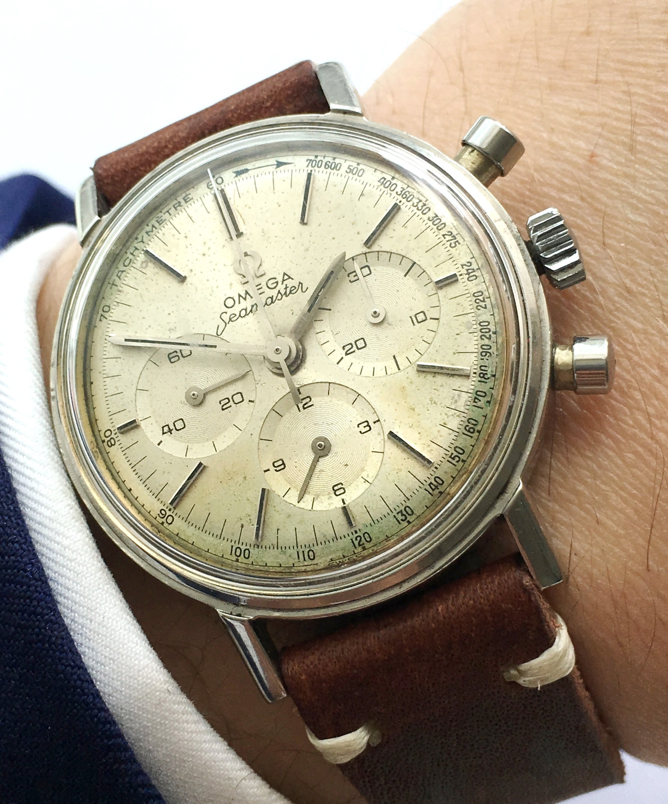 Serviced Three Register Omega Seamaster Chronograph Steel Vintage