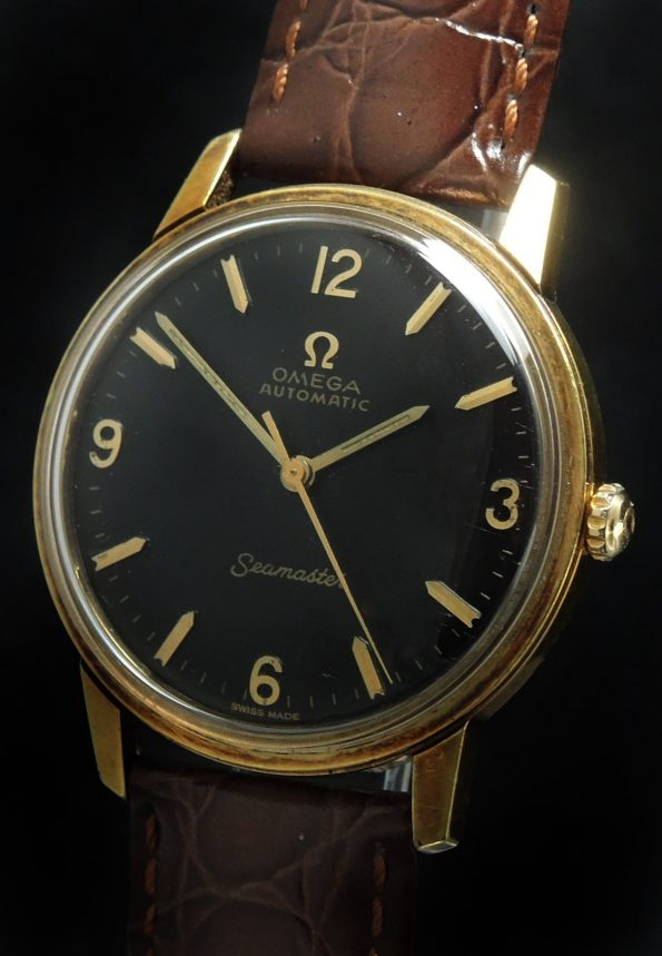 Refurbished Gold Plated Omega Seamaster Automatic Vintage Black Dial