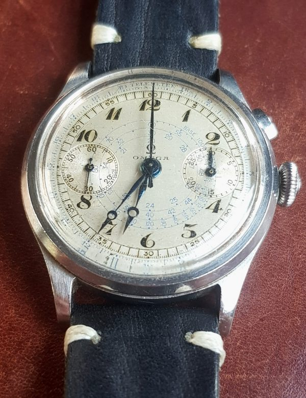 Superrare Omega 33.3 Vintage Chronograph Steel Breguet