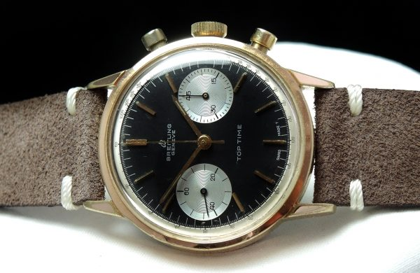 Breitling Pink Gold Plated Top Time Vintage Reverse Panda