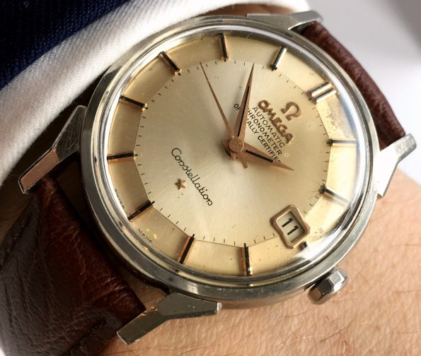 Beautiful Omega Constellation Cream Dial Pie Pan Automatic