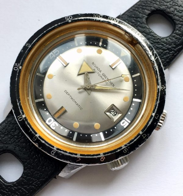 Borad Arrow Nivada Grenchen Depthomatic Diver Watch Vintage