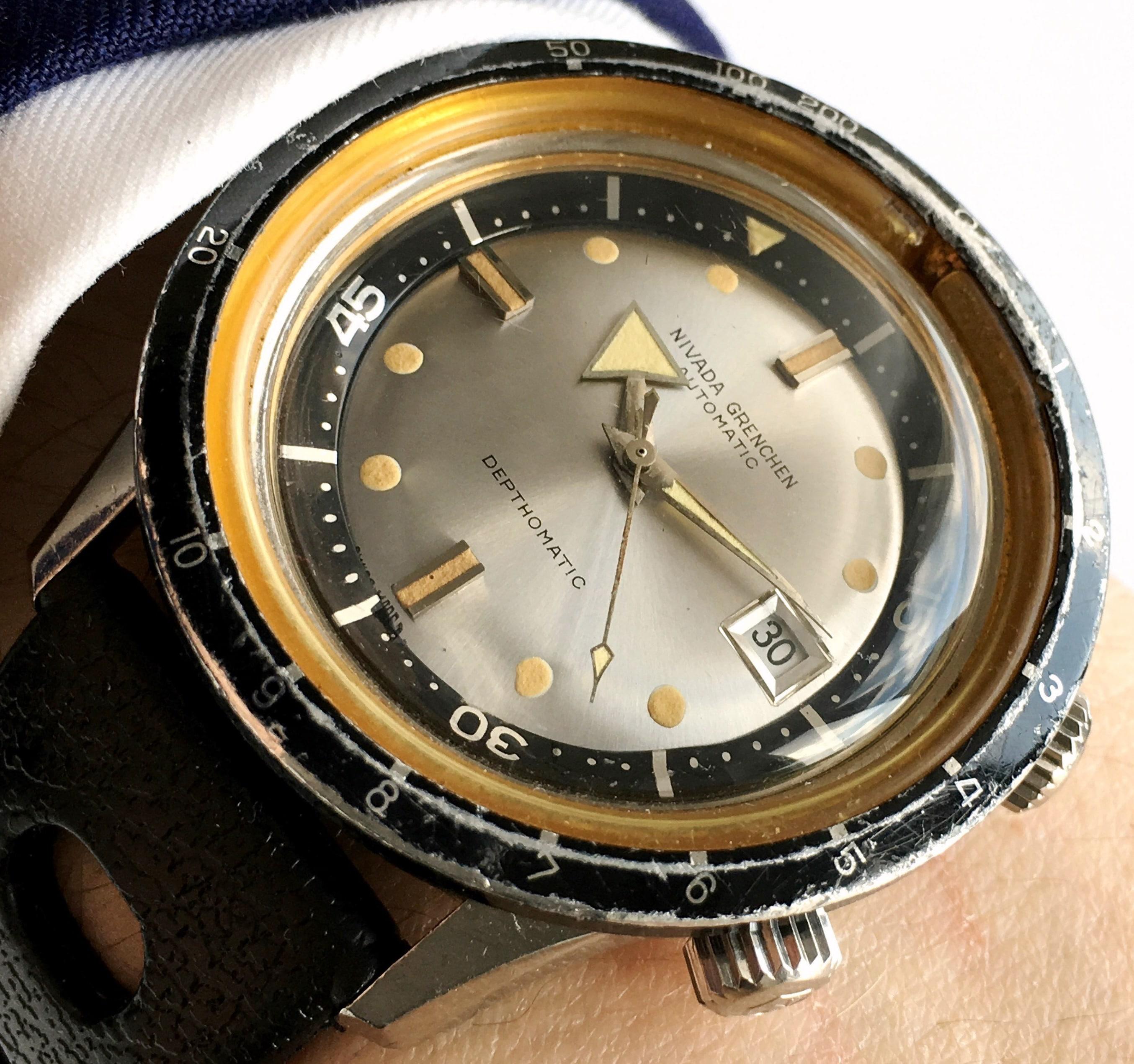 Broad Arrow Nivada Grenchen Depthomatic Diver Watch Vintage