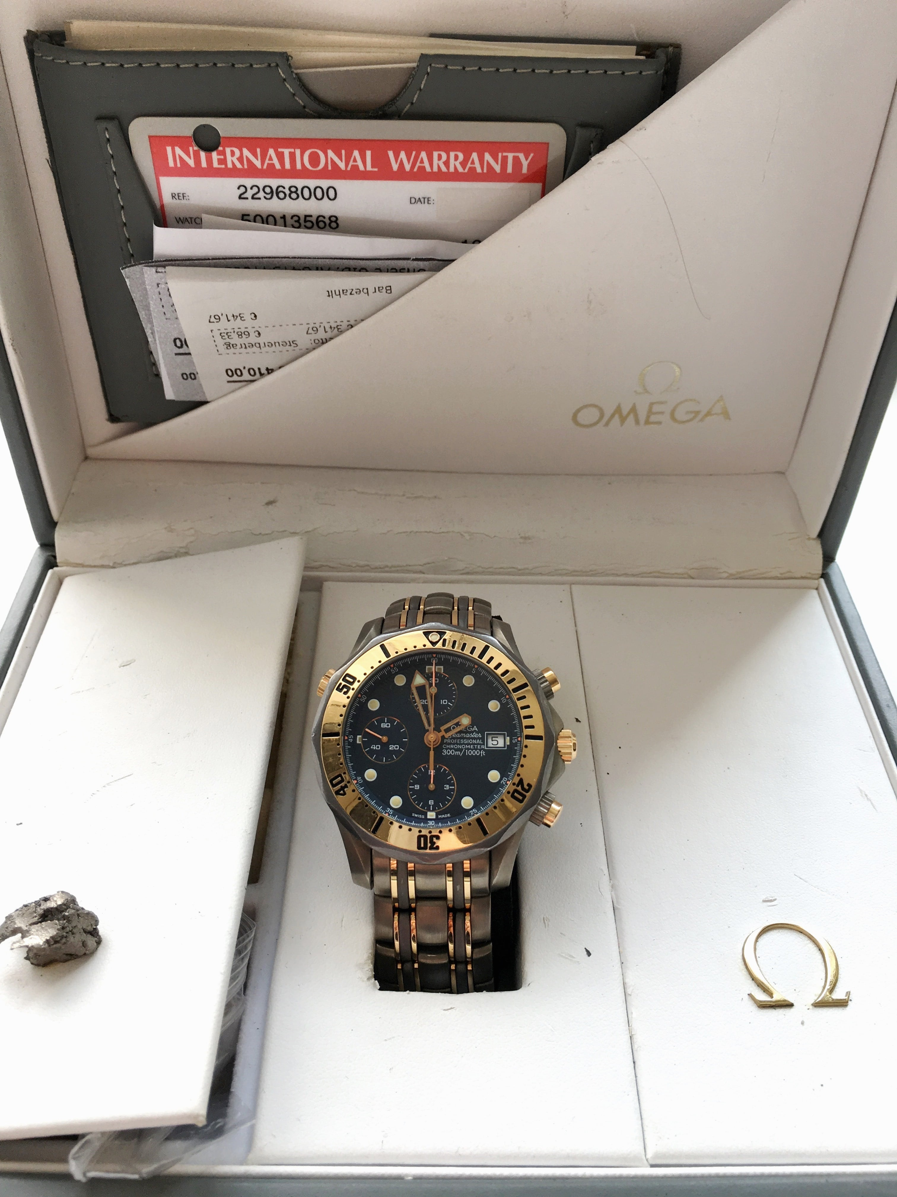Rare Titanium Rose Gold Tantalum Omega Seamaster Professional 300m Diver Chronograph