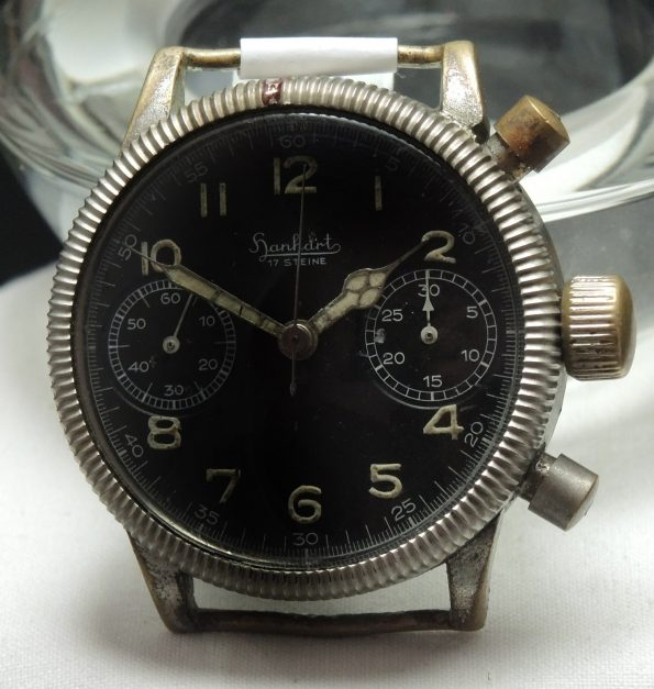 Servicierte Vintage 1944 Hanhart Chronograph im Militärstil