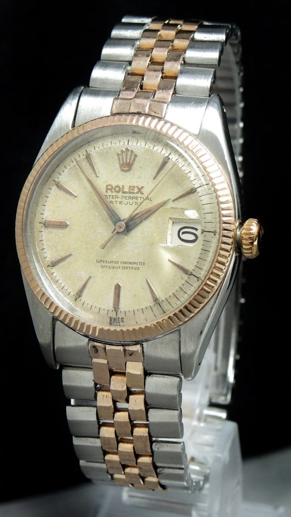 Vintage 1950s Steel Rose Gold DJ cal 1065 Butterfly Rotor