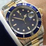 Unpolished Rolex Submariner 16613 Purple Dial Automatic Diver
