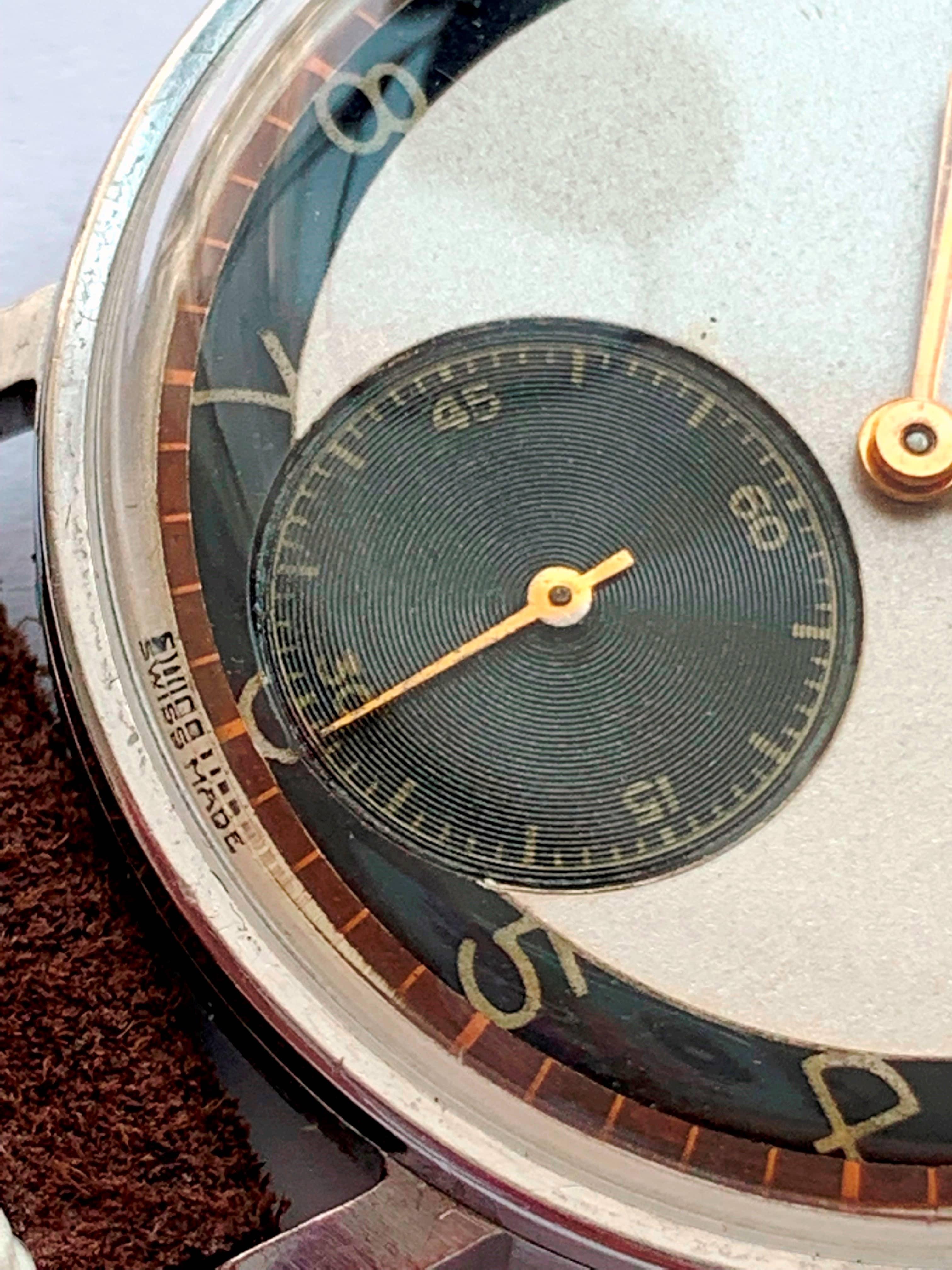 Stunning Vintage Omega Cal 30t2 Two Tone Bullseye Dial 36mm