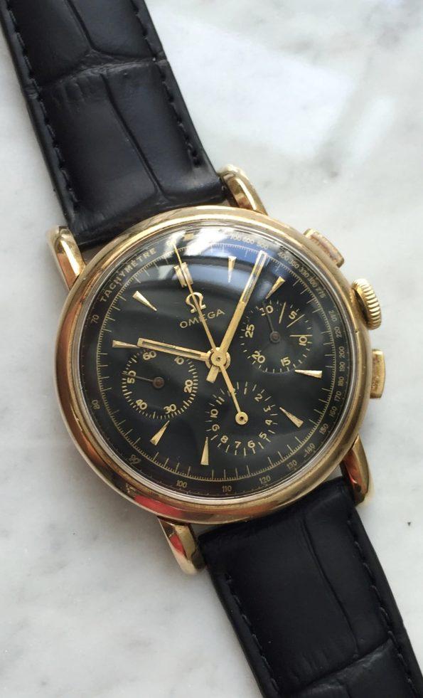 Toller Omega Solid 14k Gold Chronograph Vintage cal 321