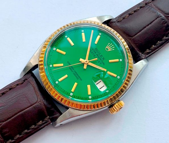 Vintage Rolex Datejust Ref 1601 Two Tone Green Dial