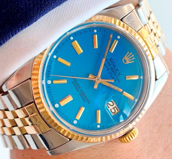 Vintage Rolex Datejust Two Tone Ref 1601 Blue Dial