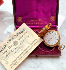 [:en]A Lange und Söhne 14k Gold Pocket Watch Full Set[:de]14k Vollgold A Lange und Söhne Doppelmantel Taschenuhr Gold Full Set[:]