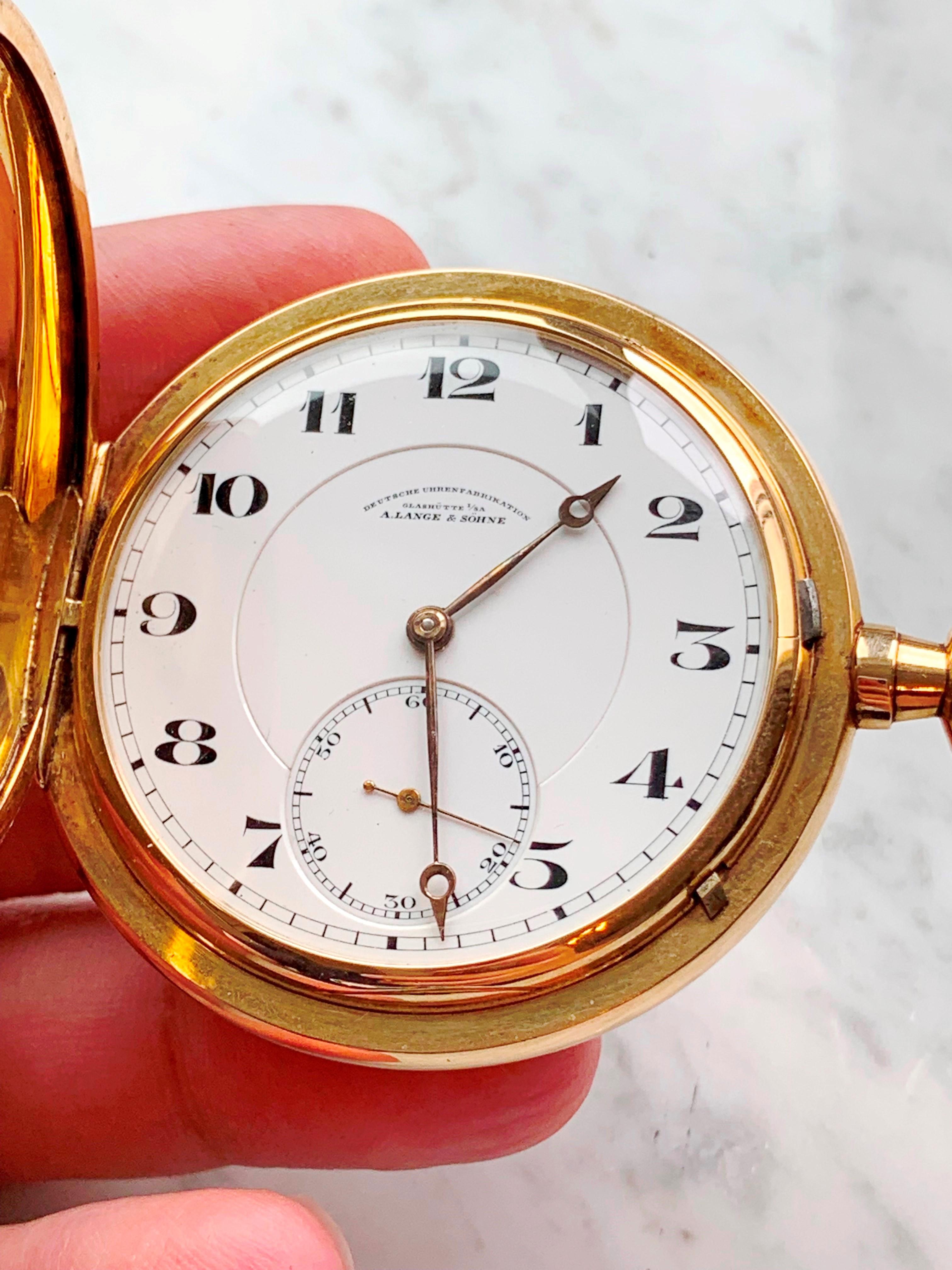 14k Vollgold A Lange und Söhne Doppelmantel Taschenuhr Gold Full Set