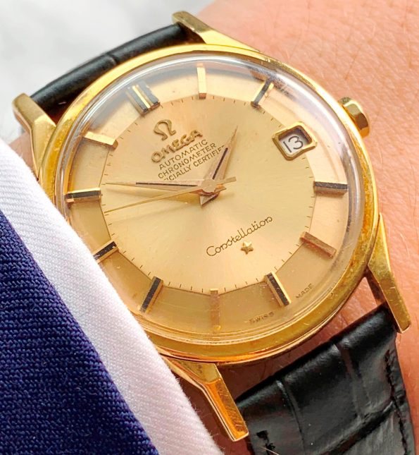 Vintage Omega Constellation 18k Solid Gold Pie Pan Dial Onyx Indices