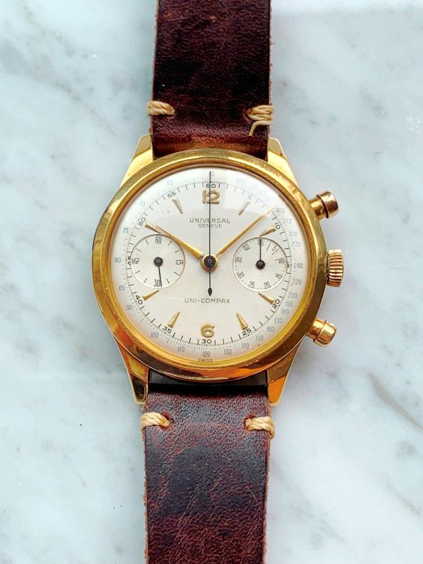 Underpriced and Superrare Universal Geneve Compur 38mm (!) Solid Gold Water Proof Chronograph