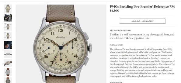 Breitling Premier Vintage Chronograph Ref 734