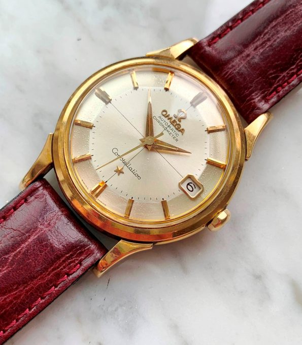 Gorgeous Unrestored Vintage Omega Constellation Pie Pan Solid Gold
