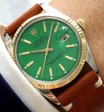 [:en]Vintage Rolex Datejust Ref 1601 Two Tone Green Dial[:de]Vintage Rolex Datejust Ref 1601 Two Tone Grünes Ziffernblatt[:]