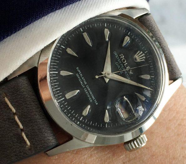 Restaurierte Rolex Oyster Perpetual Date Ref 6518 Schwarzes Ziffernblatt