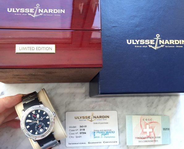 Full Set Ulysse Nardin Maxi Marine Power Reserve Box Papers Diver