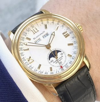 Professionally Serviced Blancpain Leman Calendar Moonphase 18k 38mm 2763 Yellow Gold Triple Date