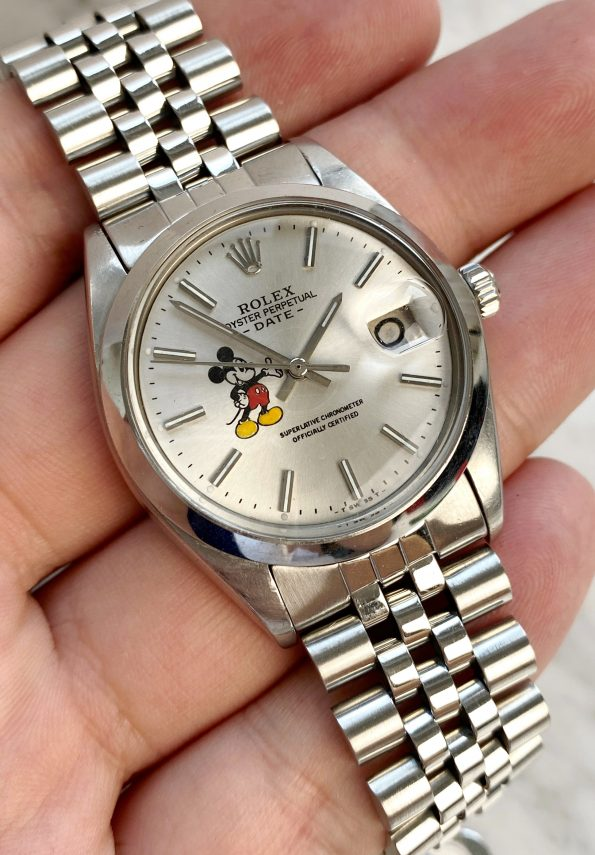 Customised Rolex Date Vintage Mickey Mouse Dial Handwinding ref 6694