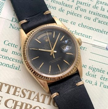 Unrestored Black Dial Rolex Day Date Vintage Automatic Gold Full Set
