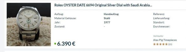Rare Rolex Oyster Date Arab Military Dial UAE