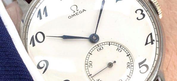 Servicierte Vintage Omega Oversize Jumbo aus Edelstahl mit restauriertem Ziffernblatt