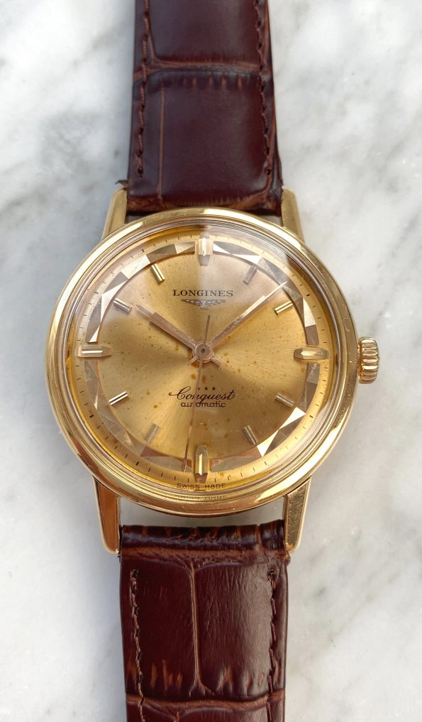 Serviced Pie Pan Longines Conquest Automatic Solid Pink Gold