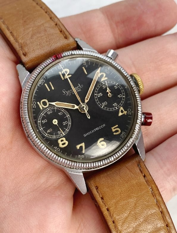 Professionally Serviced Vintage cal 417 Hanhart Chronograph Flyback