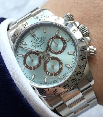 Originaler Rolex Daytona Edelstahl mit originalem Rolex Ice Blue Platin Ziffernblatt Full Set