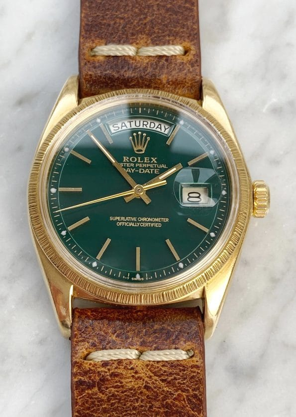 Customised Rolex Day Date President in 18ct Yellow Gold with a green restored dial