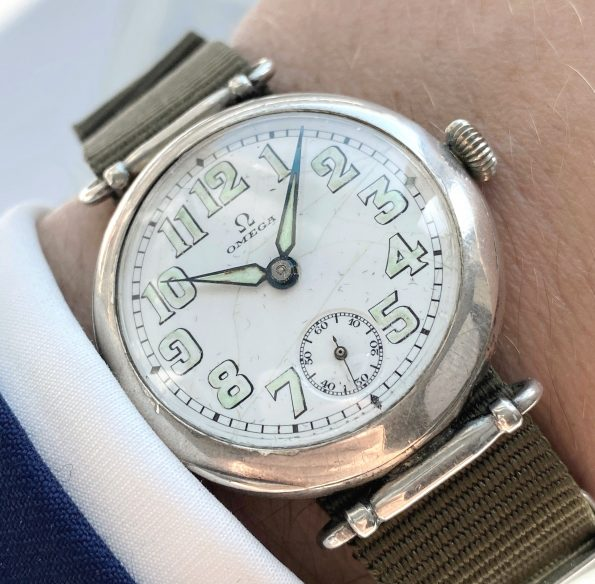 35mm Big Omega Military Vintage Solid Silver Watch