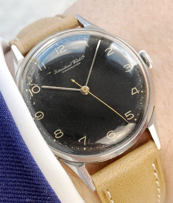 ENGRAVED Original Black Dialed IWC Vintage Steel possibly military