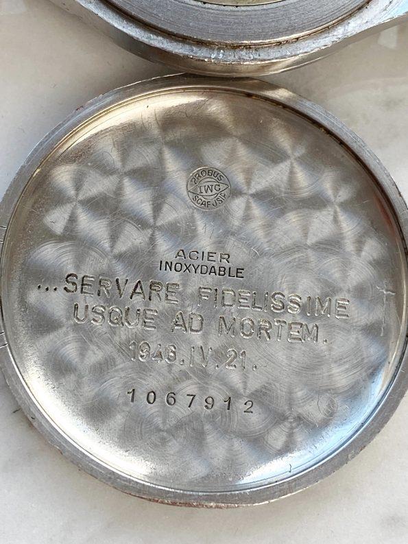 Secret Engravement Original Black Dialed IWC Vintage Steel possibly military