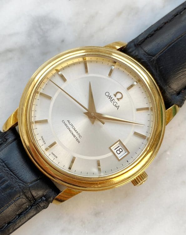 Vintage Omega Automatic Chronometer 18k Solid Gold Sapphire Glass