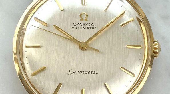 Omega Seamaster Automatik Vintage Vollgold 165001 Pre De Ville Leinenziffernblatt