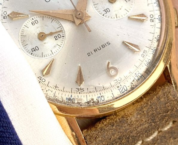 Ortin Swiss Chronograph Suisse 18 Gold Antimagnetic Vintage Solid Pink Gold