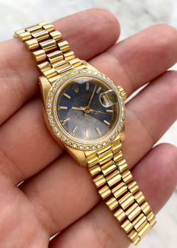 Wunderschöne Vintage Rolex Datejust Vollgold Blaues Ziffernblatt ref 6917