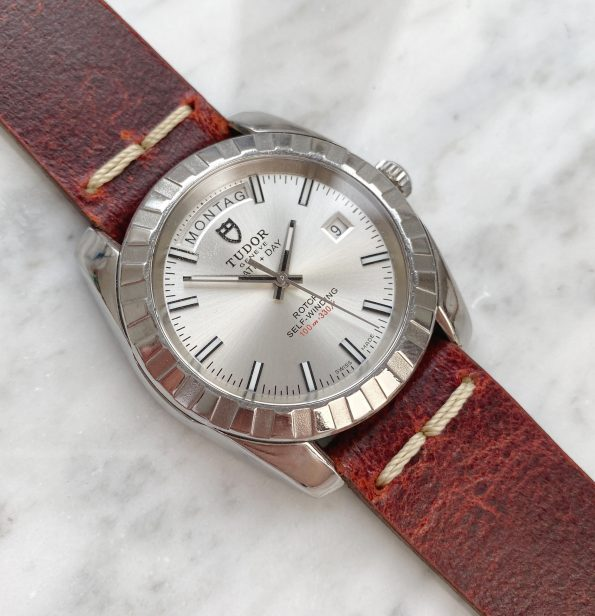 Great Tudor Day Date Automatic Steel with Red Vintage Ecru Strap