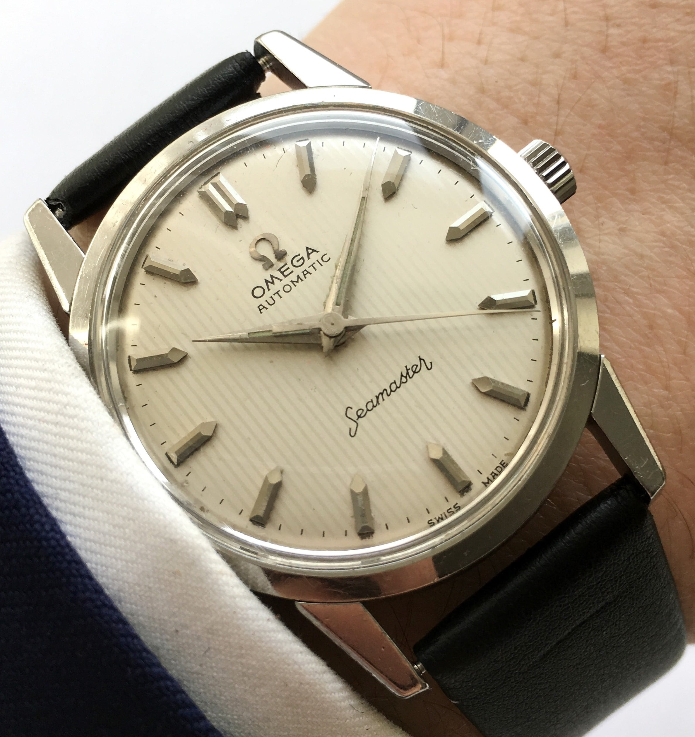 Restored Omega Seamaster Automatic Linen dial