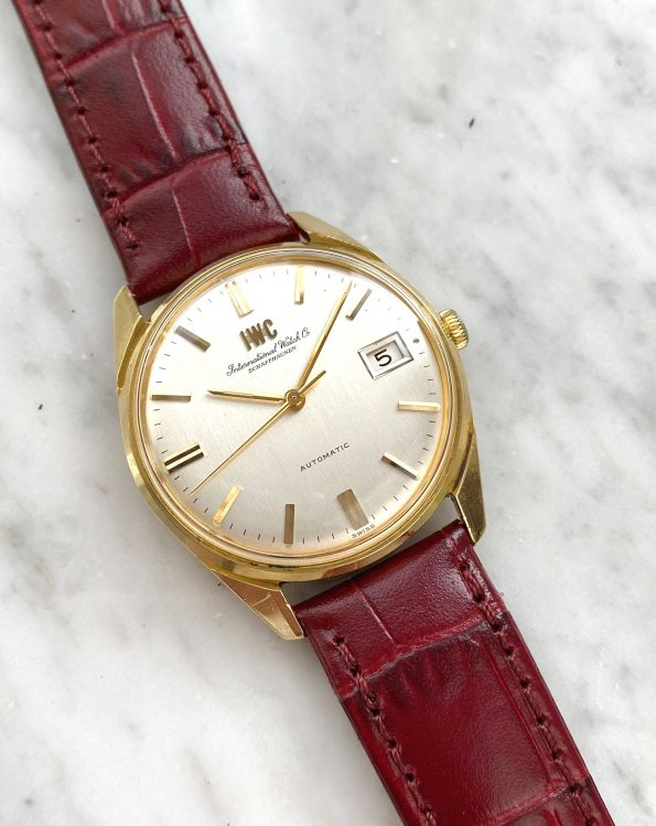 Beautiful Vintage IWC Automatic Solid Gold Linen Dial