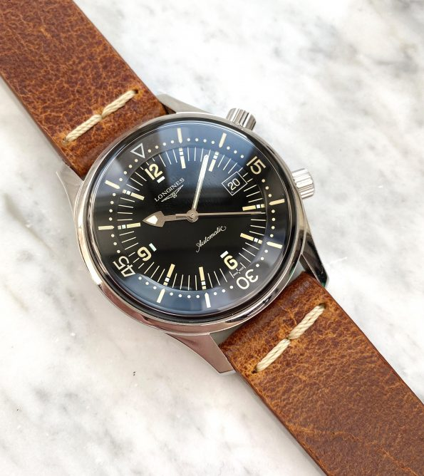 Mint Longines Legend Diver Date with Vintage Ecru Strap