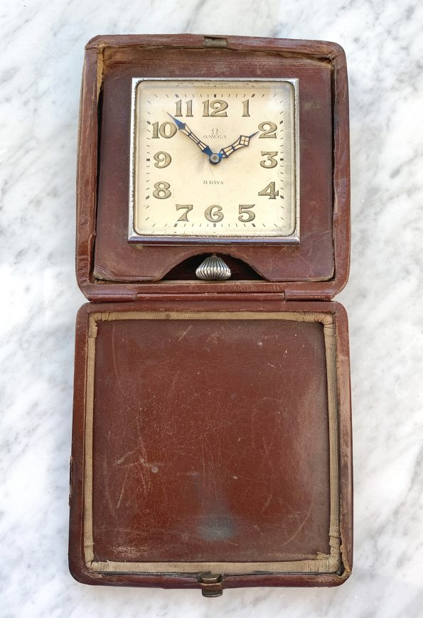 Omega 8 Days Travellers Clock Table Clock Vintage from 1930