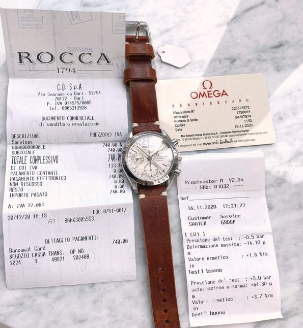 Omega Speedmaster Reduced Automatic Triple Date Vintage White Dial 175.0084 Omega Service