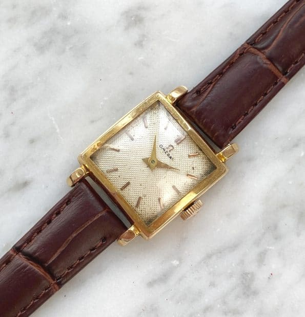 Vintage Omega Ladies Solid Gold Square Honeycomb Dial