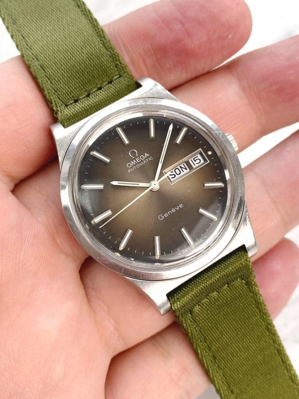 Vintage Omega Geneve Day Date Rare Brown Dial Automatic