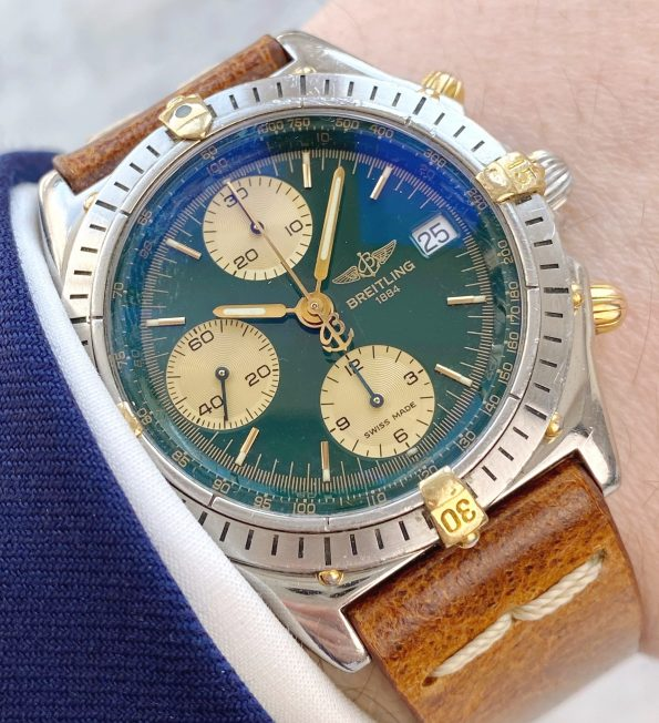 Serviced Breitling Chronomat Vintage Automatic green dial FULL SET Chronograph Automatic Automatik