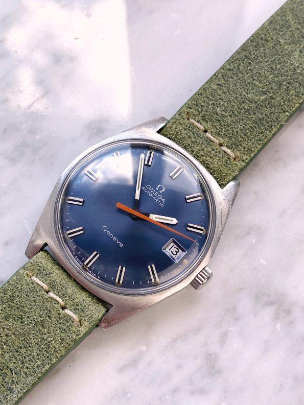 Beautiful Vintage Omega Geneve Automatic Blue Dial Orange Hand